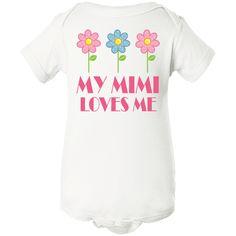 Mimi Loves Me daisies Infant Creeper White $11.99 www.personalizedgrandma.com
