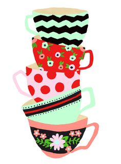 TEA CUPS- August Door Decs (one per room with ice cubes that has each name on them)