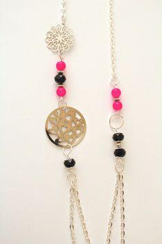 Sautoir estampe - rose noir argent - Chaine maille ovale - Perles verre et facettes : Collier par distenget