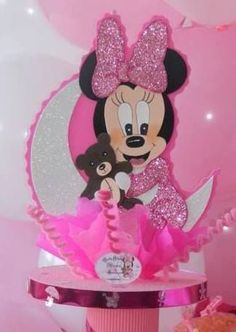 Mickie Mouse Party, Minnie Mouse 1st Birthday, Minnie Mouse Baby Shower, Minnie Mouse Pink, Baby 1st Birthday, Mermaid Baby Showers, Baby Mermaid, Birthday Centerpieces, Baby Shower Centerpieces