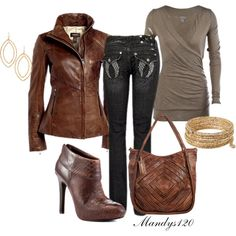"""""""Fall Leather"""" by mandys120 on Polyvore...only pinning for the shirt. Those jeans are horrible"""