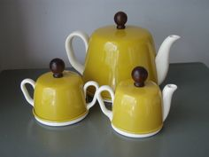 TEA FOR TWO Vintage Insulated Teapot Sugar and Creamer Set White and Mustard