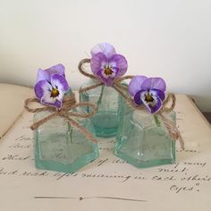 Vintage Victorian Ink Pots, Aqua Blue, Collectible, Bud Vases by Papillonpieces on Etsy