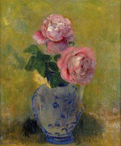 Vase de Roses sur Fond Vert by Odilon Redon - art print from King & McGaw