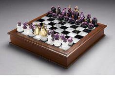 Carved ruby chess set sold at Bonham's