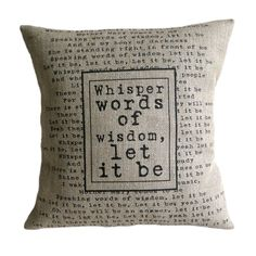 """The Beatles Song Quote Let It Be Hessian Burlap Pillow Cushion Cover 16"""""""
