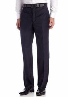 Calvin Klein Navy Navy Wool Flat Front Pants