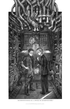 Leviathan, Deryn and Alek in the Message lizard depot Leviathan Scott Westerfeld, Lockwood And Co, Steampunk, Drawing Studies, Dalek, Illustration Art, Book Illustrations, Dieselpunk, Artist Art