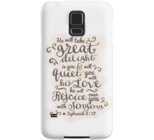 From just £20.83. Pink and grey typography bible verse. 'he will quiet you with his love and rejoice over you with singing' Zephaniah 3 verse 17 samsung galaxy phone case. Available on many more items! Click to see. http://www.thefinerthemes.com/store/p3/ZEPHANIAH_3%3A17_QUIET_YOU_WITH_HIS_LOVE.html