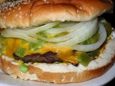 New Mexico Green Chile Cheeseburger. Yum! We put green chili on everything from eggs to pizza, we even eat it by itself. It's good stuff.