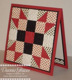 handmade quilt card ... star design ing red, white and black ... bolka dots and solids ... lots of pieces ... embedded  embossing ...  luv it!!