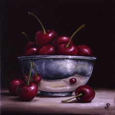 Silver bowl with Cherries by Jane Palmer