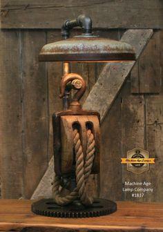 Vintage Industrial Decor Steampunk Industrial / Antique Block and Tackle / Antique Chicken Feeder Shade / Gear / Lamp