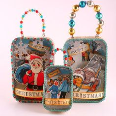 Altered Altoids Tins Christmas Ornaments