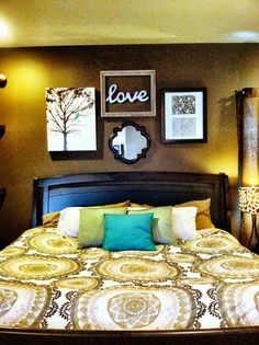 Master bed decor- over the bed idea.