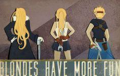 The ladies of Fullmetal Alchemist Olivier Armstrong, Winrey Rockbell, Riza Hawkeye (monicamcclain on deviantart)