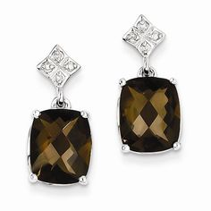 Solid 925 Sterling Silver Brown Simulated Smokey Quartz and Diamond Earrings (.03 cttw.) (19mm x 9mm) * Details can be found by clicking on the image.