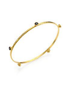 GURHAN - Black Diamond & 24K Yellow Gold Skittle Station Bangle Bracelet