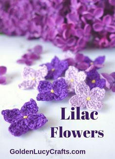 Learn how to crochet these beautiful lilac flowers Free crochet pattern Mother s Day card handmade DIY crafts crochet crafts lilacs lilacflowers crochetflower crochetpattern Beau Crochet, Stitch Crochet, Crochet Motifs, Crochet Patterns, Doilies Crochet, Crocheted Flowers, Doily Patterns, Dress Patterns, Easy Knitting Projects