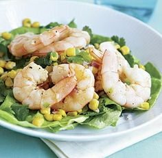 Bibb & Cilantro Salad with Shrimp & Toasted Corn #seafood #recipe #food