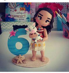 Bela Moana Birthday Party, Moana Party, Luau Birthday, Polymer Clay Projects, Clay Crafts, Fondant Numbers, Festa Moana Baby, Bolo Moana, Hawaian Party