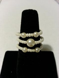 Pearls memory wire ring by JaniceInspirations on Etsy, $7.50