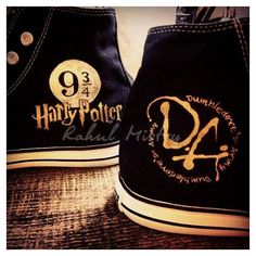 Harry Potter Handpainted Converse Shoes. ❤ liked on Polyvore featuring shoes, waterproof footwear, acrylic shoes, converse footwear, lucite shoes and star shoes