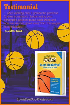 """""""Last year I coached a 5th-grade boys basketball traveling team. It was my first year coaching and the kids' first year playing. I used your practice plans and they were great for me and the kids did really well. This year they are playing 6th-grade ball at their school and are so far undefeated. I will be coaching them again after their school season is over and will definitely revisit your practice plans."""" -- Fred Dubray, Coach - Mobridge, South Dakota Basketball Practice Plans, Talking Points, Basketball Coach, First Game, South Dakota, A Team, Coaching, Traveling, How To Plan"""