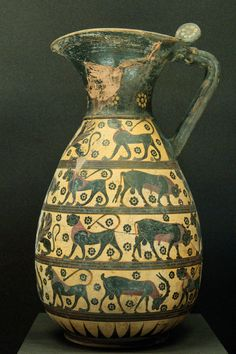 Ancient Greek pottery showing a goat as well as other animals  Note the erect tail so it is not a sheep #goatvet