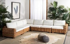 Shop for Safavieh Couture Malibu Wicker 5 Piece Sectional - Natural / Beige - in w x in d x in h. Get free delivery On EVERYTHING* Overstock - Your Online Furniture Shop! Get in rewards with Club O! Cushions On Sofa, Furniture Deals, Outdoor Furniture Sets, Patio Loveseat, Corner Sectional, Sectional Sofas, Couture, Living Room Decor, Beach Cottages