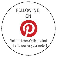 "Pinterest Thank You Shipping Label Template - Customize this 2"" Circle label template with your Pinterest Name.  Build your followers!  #Pinterest #Labels"