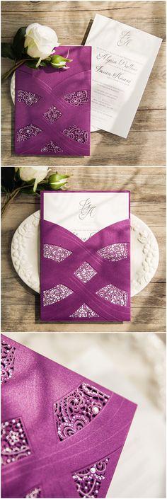 elegant plum purple laser cut pocket wedding invitations with silver foiled wordings ewws109 @elegantwinvites