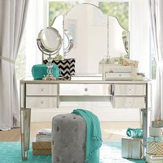 PB Teen Zoe Vanity Set, Desk + Hutch ($876) ❤ liked on Polyvore featuring home, furniture, desks, wood furniture, pbteen, wooden desk, wood hutch and pbteen furniture