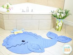Crochet Pattern PDF for making a beautiful Whale Animal Rug or Nursery Mat with Lace Fins