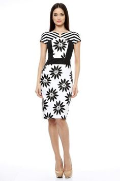 Rochie grafica alb/negru. Dresses For Work, Fashion, Moda, Fashion Styles, Fashion Illustrations