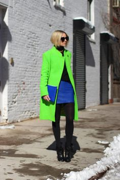Jacket: Acne. Skirt: Forever 21. Tights: Club Monaco. Necklace: Tory Burch. Sunglasses: Karen Walker. Sweater: Everlane. Booties: Givenchy. Rings: Pomellato and BaubleBar. Bag: Thanks to Rebecca Minkoff.