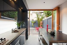 Australian kitchen design joining indoor and outdoor spaces Interior Designers Sydney, Concrete Bench, Surry Hills, Residential Architect, Sydney Australia, Outdoor Spaces, Kitchen Design, Indoor, Modern