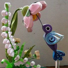 Quilling 3D - Blue Hummingbird quilled