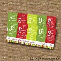 "Christmas Card DIY PRINTABLE ""JESUS"" Christian Scripture Bible Verse Christmas Card. $12.00, via Etsy."