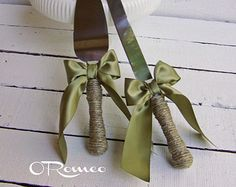 Cottage Chic Rustic Wedding Cake Server and Knife Set by ORomeo
