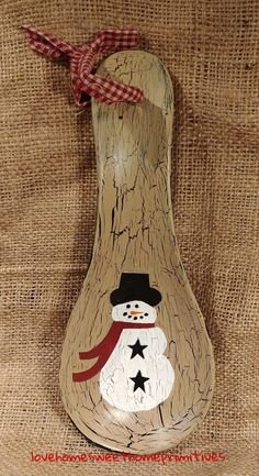 Primitive Crackle Tan Snowman Canister Candy Jar Black Stars Christmas Winter