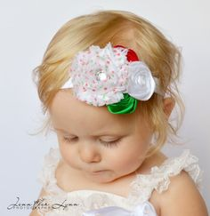 baby headbands red and white headband christmas girl headband valentines headband flower girl headband girls headbands