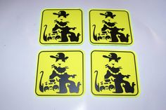 Blek le Rat / Banksy 4 x Coasters on Yellow Neon Squares with Black Vinyl Graphics.. £14.95 + Delivery see www.mojo-shop.co.uk for more information