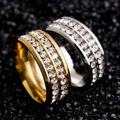 Womens Mens Fashion Double Rows Rhinestones Titanium Steel Wedding Jewelry  Ring 5F2B Свадебные Ювелирные Украшения, 03ed7f7e796