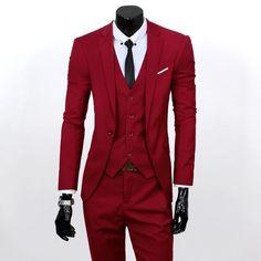(Vest+suit+pants) Men pure color high-grade brand fashion wedding dress suits Men boutique slim formal business Blaze Suits-Men's Suits & Blazers-Enso Store-Black 1 buttons-S-Enso Store