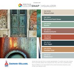 I found these colors with ColorSnap® Visualizer for iPhone by Sherwin-Williams: Natural Linen (SW Rookwood Sash Green (SW Restful (SW Reddened Earth (SW Jalapeño (SW Dark Night (SW Eastlake Gold (SW Niebla Azul (SW Rustic Color Palettes, Paint Color Palettes, Rustic Colors, Dark Paint Colors, Exterior Paint Colors, Room Colors, Wall Colors, Spanish Colors, Pintura Exterior