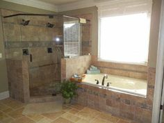 This master bath looks as though it belongs in a spa!