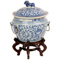 Qing Lidded Foo Dog Cache Pot | From a unique collection of antique and modern ceramics at http://www.1stdibs.com/furniture/asian-art-furniture/ceramics/