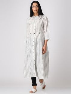 Grey Button-down Striped South Cotton Kurta Simple Kurti Designs, Kurta Designs Women, Kurti Designs Party Wear, Dress Designs, Blouse Designs, Summer Dresses Online, Indian Designer Suits, Indian Designers, Kurta Cotton