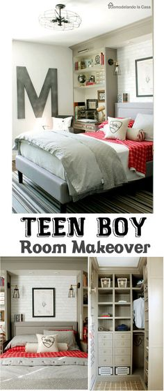 A teen boy's room is transformed with built-ins around the bed, a new closet, faux brick wall and lots of vintage-industrial decor.